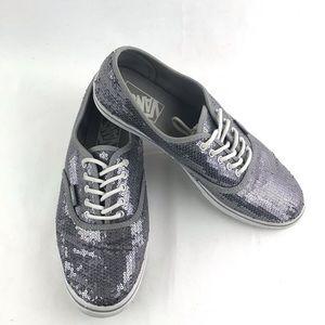 VANS Van Doren Silver Sequin Sneakers Shoes 8